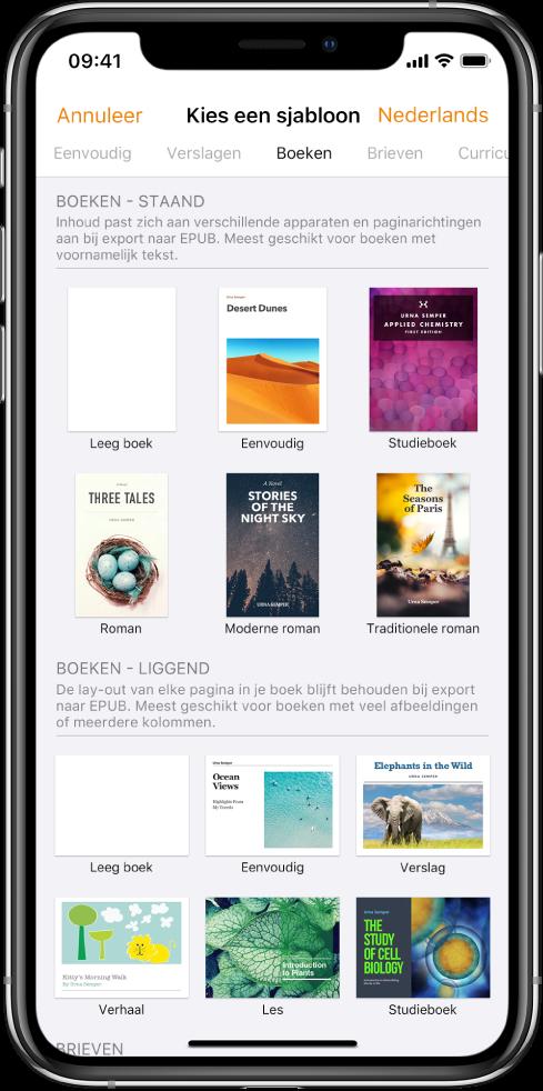 De sjabloonkiezer met bovenaan een aantal categorieën. 'Boeken' is geselecteerd en eronder staan boeksjablonen met de paginarichting 'Staand' en 'Liggend'.