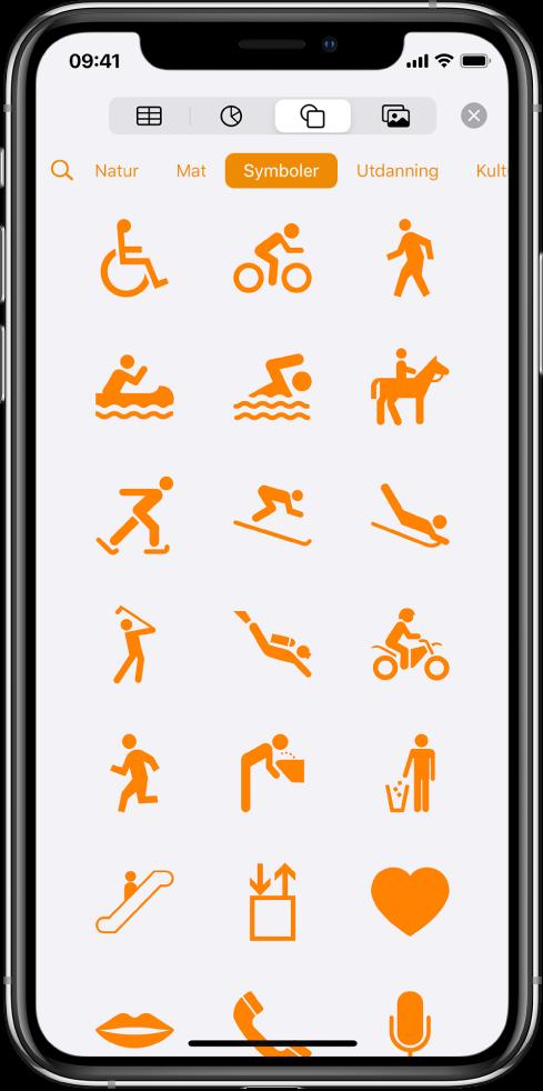 Sett inn-menyen med knapper øverst for å legge til tabeller, diagrammer, figurer og medier. Figurer er markert, og menyen viser en rad med kategorier med en Søk-knapp til venstre. Kategorien Aktiviteter er valgt, og det vises figurer nedenfor.