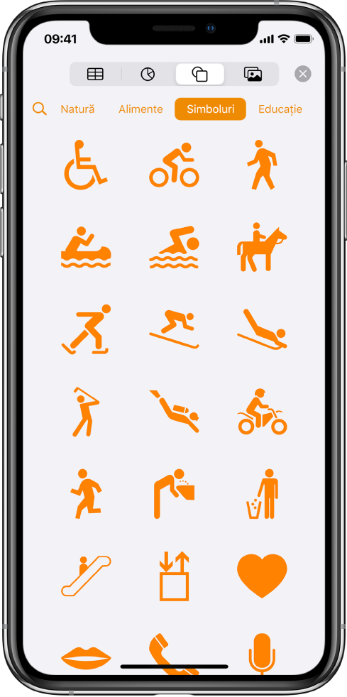 Meniul Inserare, cu butoane în partea de sus, pentru adăugarea tabelelor, diagramelor, formelor și elementelor multimedia. Este selectată opțiunea Forme și meniul acesteia afișează un rând de categorii, cu butonul Căutare în stânga. Categoria Activități este selectată și apar forme dedesubt.