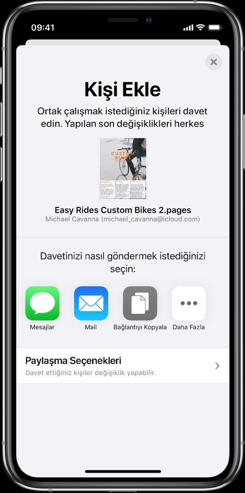 Kişi Ekle ekranı, paylaşılacak belgenin bir resmini gösteriyor. Onun altında Mesajlar, Mail, Bağlantıyı Kopyala ve Diğer de dahil olmak üzere çeşitli davet gönderme yolları için düğmeler var. En altta Paylaşma Seçenekleri düğmesi bulunuyor.