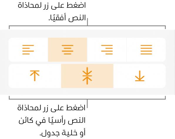 أزرار المحاذاة أفقيًا أو رأسيًا للنص.