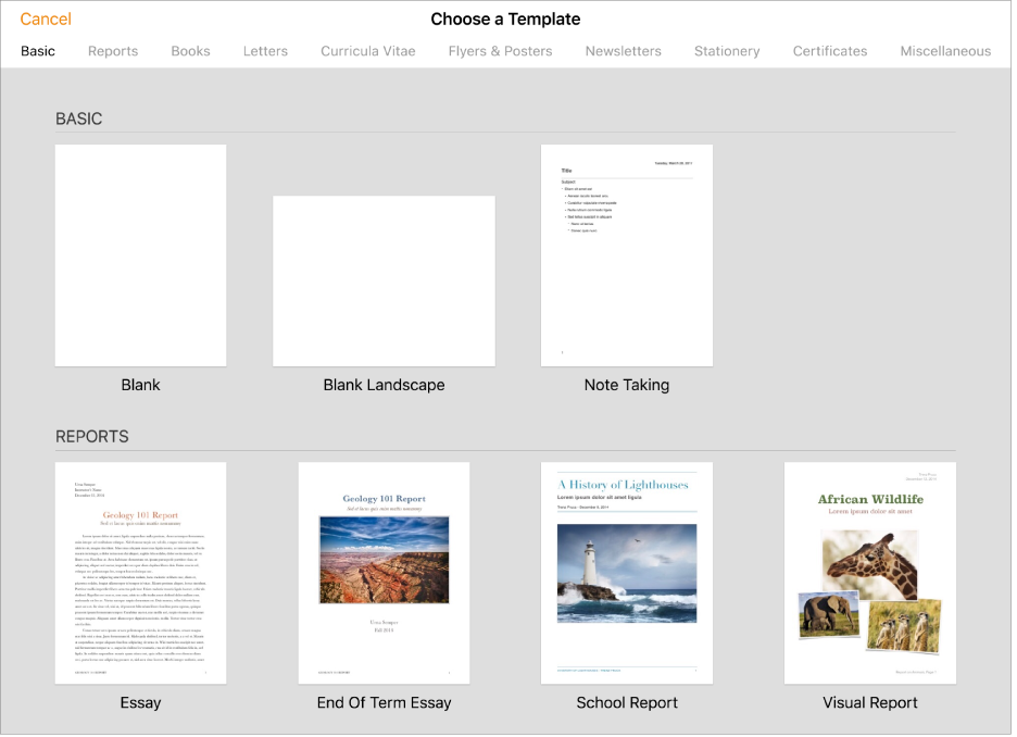 The template chooser, showing predesigned templates you can use to begin creating documents.