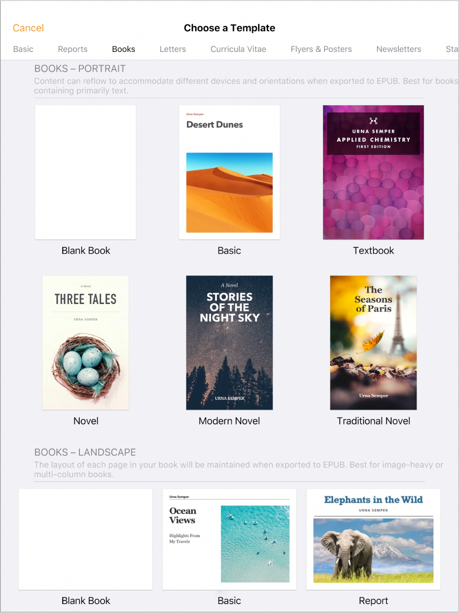 The template chooser with book templates in portrait orientation at the top and landscape orientation below. A Show Categories button is in the upper-right corner.