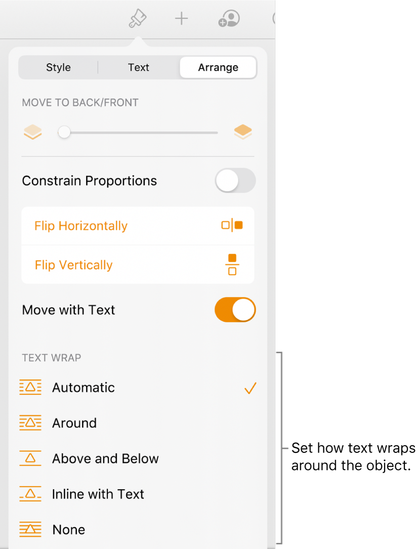 The Arrange controls with Move to Back/Front, Move with Text and Text Wrap.