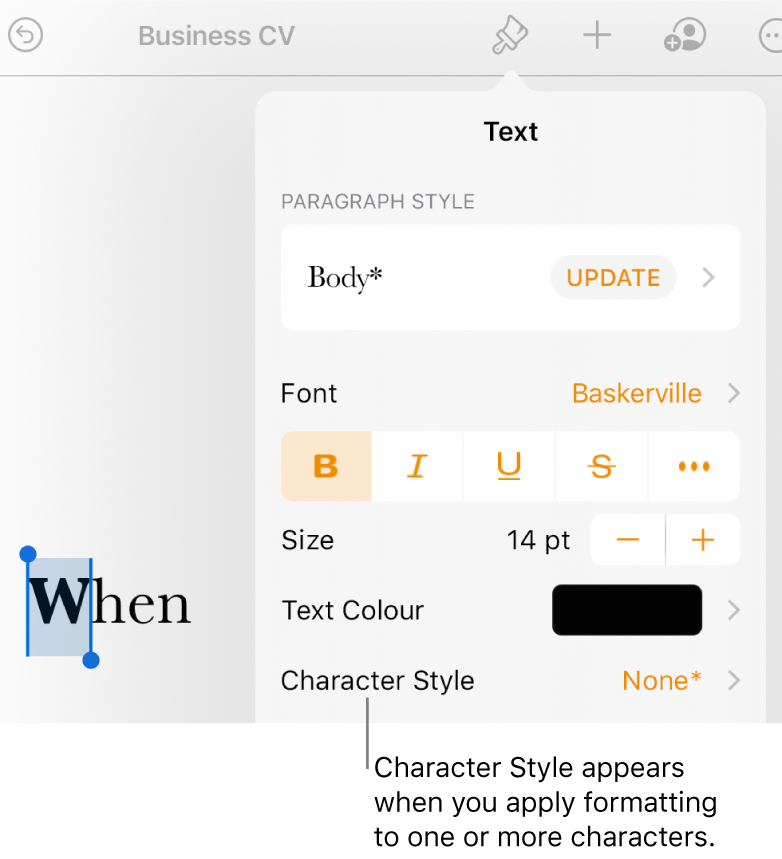 The Text formatting controls with Character Style below the Colour controls. The character style None appears with an asterisk.