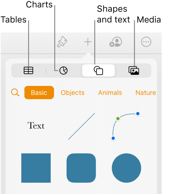 The Insert popover open with buttons for adding tables, charts, text, shapes, and media at the top.