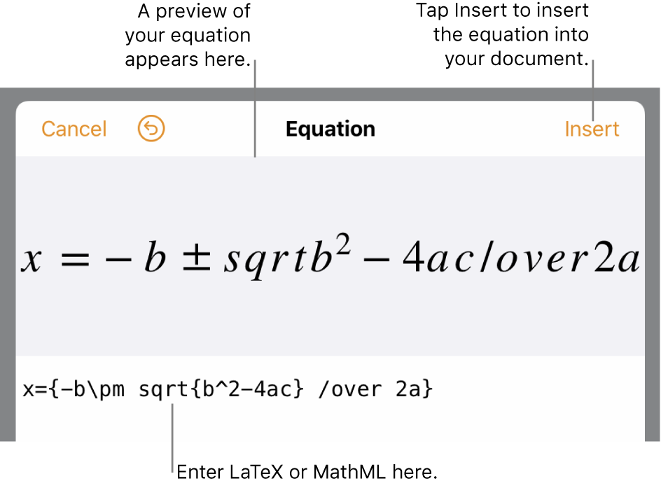 The equation editing dialog, showing the quadratic formula written using LaTeX commands, and a preview of the formula above it.
