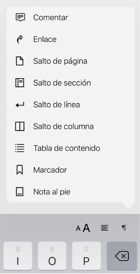 La barra de funciones rápidas con los controles Insertar abiertos, arriba del botón Insertar.