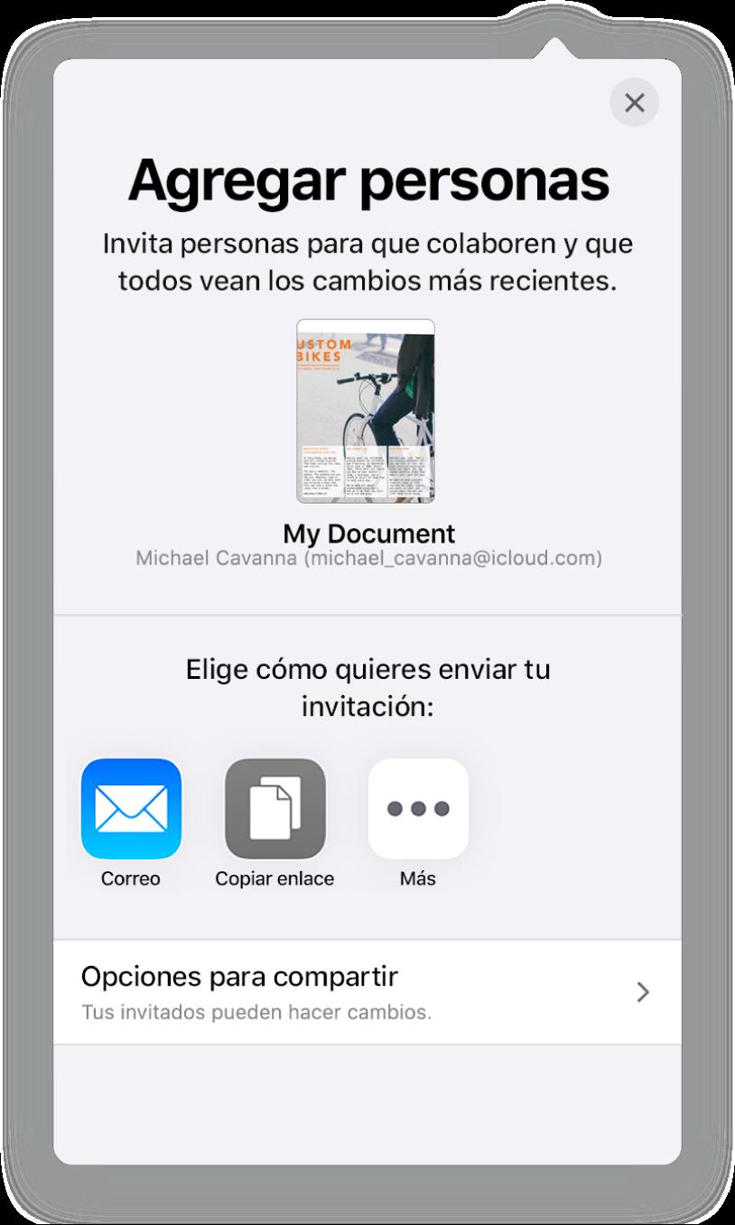 """La pantalla """"Agregar personas"""" mostrando una imagen del documento que se va a compartir. Debajo hay botones con las maneras en que se puede enviar la invitación; incluyendo Correo, """"Copiar enlace"""" y más. En la parte inferior se encuentra el botón """"Opciones para compartir""""."""