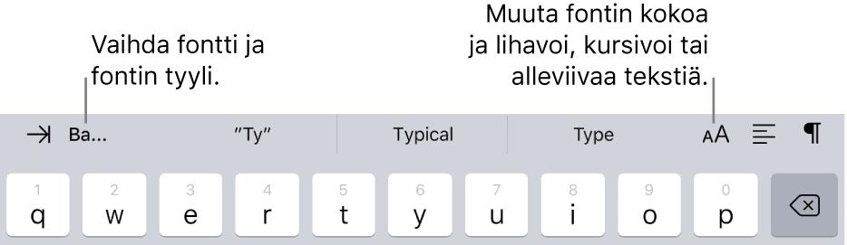Tekstinmuotoilupainikkeet näppäimistön yläpuolella, vasemmalta lähtien sisennys, fontti, kolme ennakoivan tekstin kenttää, fonttikoko, tasaus ja lisäys.