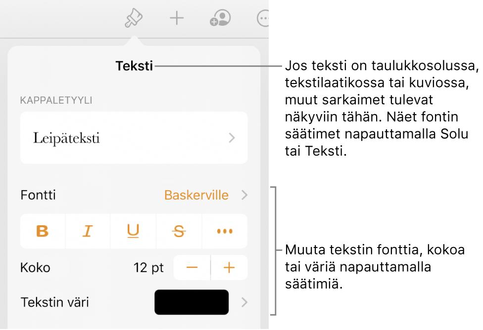 Muoto-valikon tekstisäätimet kappale- ja merkkityylien, fontin, koon ja värin valitsemista varten.