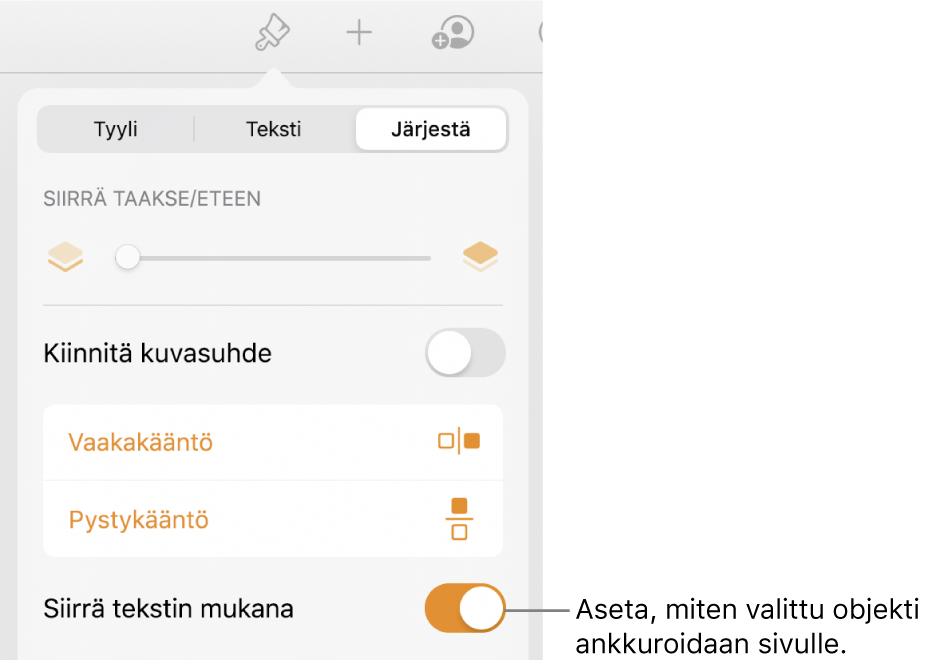 Järjestä-säätimet, joissa on Siirrä taakse/eteen, Siirrä tekstin kanssa ja Tekstin rivitys.