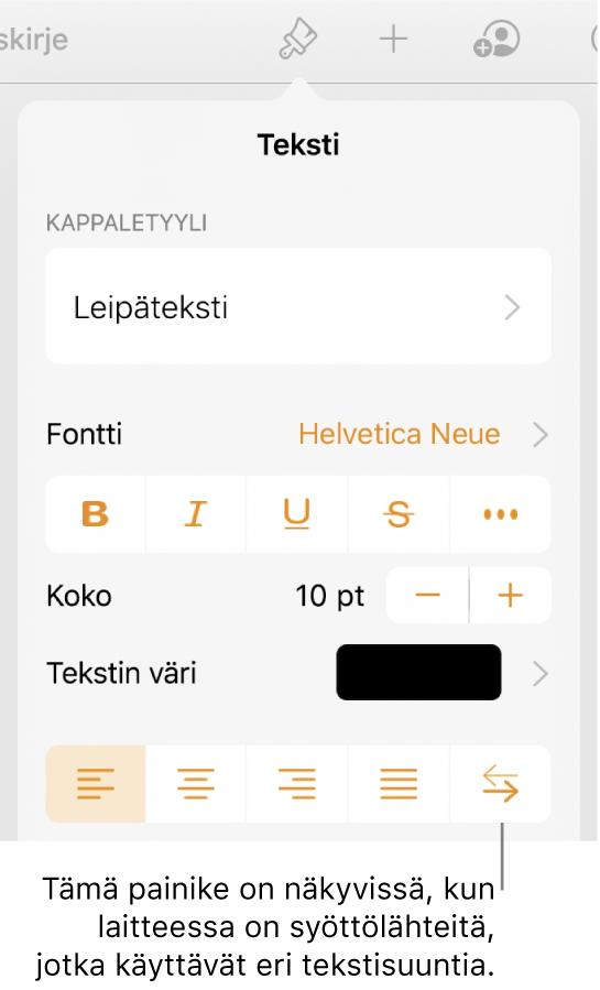 Muoto-valikon tekstisäätimet ja selite, joka osoittaa Oikealta vasemmalle -painikkeeseen.