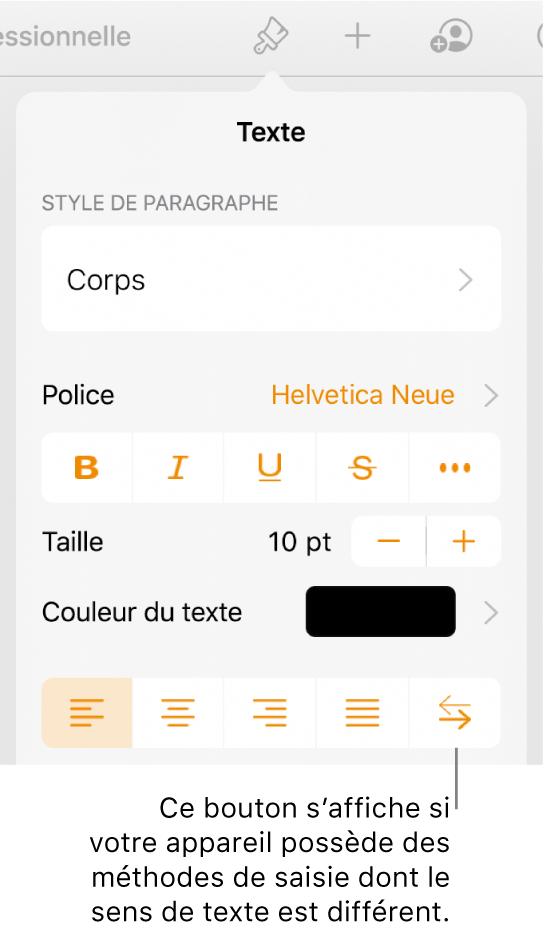 Commandes de texte du menu Format avec le bouton De droite à gauche accompagné d'une légende.