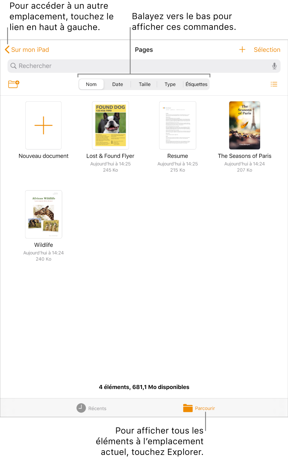 La présentation de navigation du gestionnaire de documents ainsi qu'un lien d'emplacement se trouvent dans le coin supérieur gauche, et un champ de recherche se trouve en dessous. Dans la rangée en dessous de Rechercher se trouve le bouton Nouveau dossier; les boutons de filtrage par nom, par date, par taille, par type et par étiquette, ainsi que le boutonPrésentation par liste et par icône. En dessous se trouve le boutonNouveaudocument et les vignettes des documents existants. Au bas de l'écran se trouvent les boutons Récents et Parcourir.