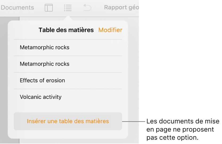 La présentation de la table des matières avec Modifier dans le coin supérieur gauche, et les entrées de la table des matières et le bouton «Insérer une table des matières» en bas.