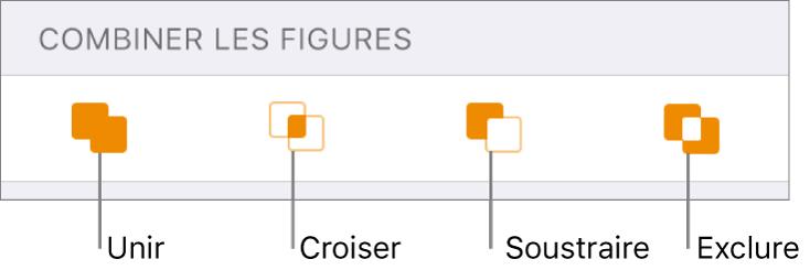 Unir, croiser, soustraire et exclure des boutons sous Formes combinées.