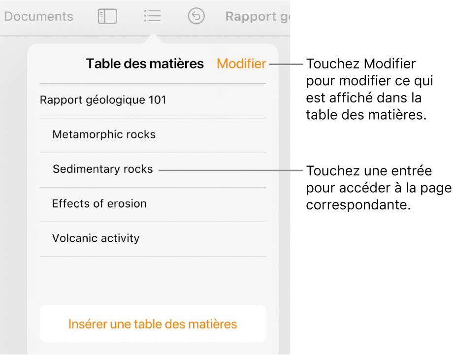 La présentation de la table des matières avec des entrées dans une liste. Le bouton Modifier se trouve dans le coin supérieur droit de la fenêtre surgissante.