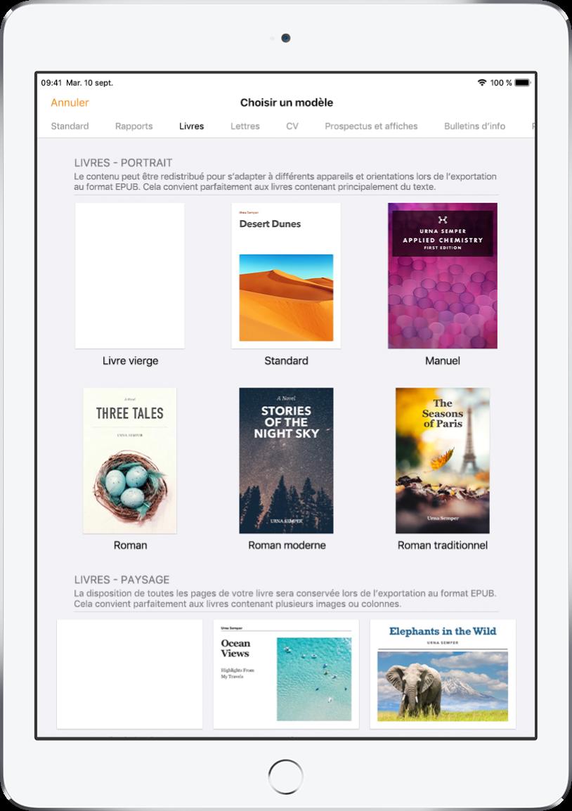 La liste de modèles avec les catégories en haut. Livres est sélectionné et les modèles de livre sont affichés en orientation portrait et paysage en dessous.