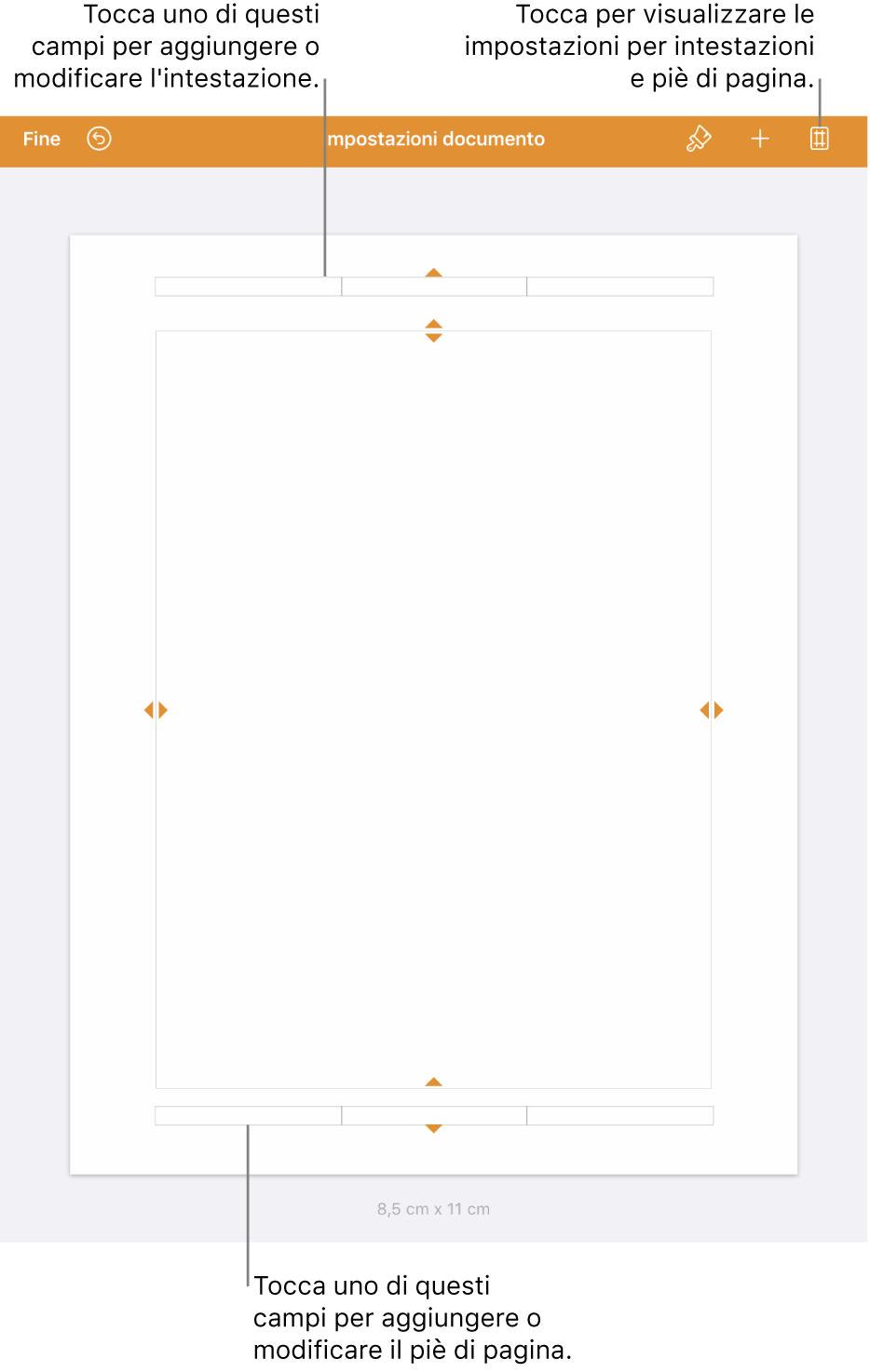 """Vista """"Impostazioni documento"""" con tre campi nelle parti superiore e inferiore del documento."""