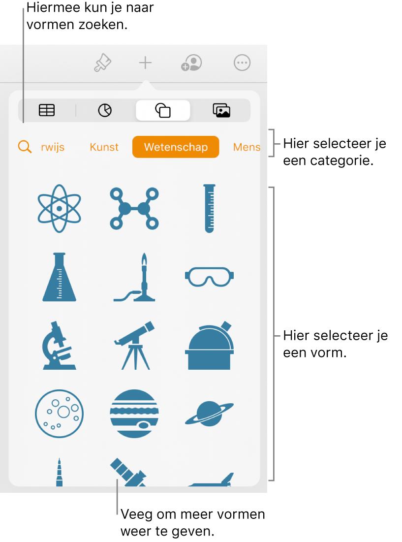 De vormenbibliotheek met bovenaan categorieën en onderaan vormen. Je kunt de zoekknop bovenaan gebruiken om vormen te zoeken. Veeg om meer opties weer te geven.