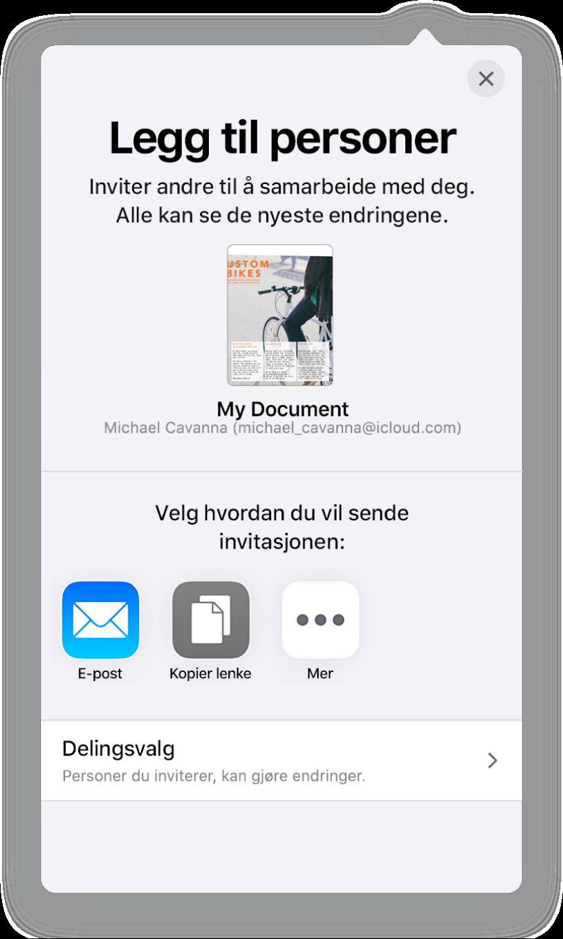 Legg til personer-skjermen som viser et bilde av dokumentet som skal deles. Nedenfor er knapper for måter å sende invitasjonen på, blant annet Mail, Kopier kobling og Mer. Delingsvalg-knappen er nederst.