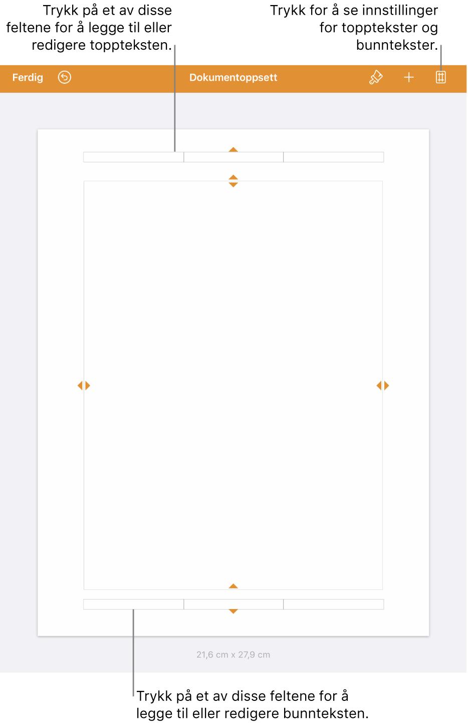 Dokumentoppsett-visning med tre felt øverst og nederst i dokumentet.