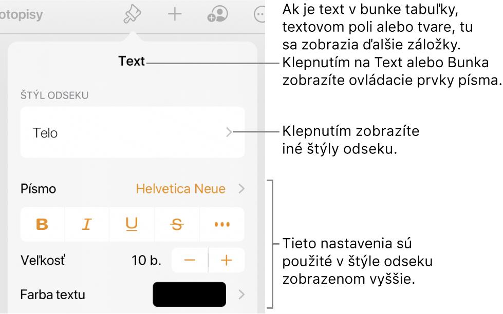V Numbers na Macu môžete používaním štýlov odseku dosiahnuť, že text v tabuľke bude mať konzistentné formátovanie.