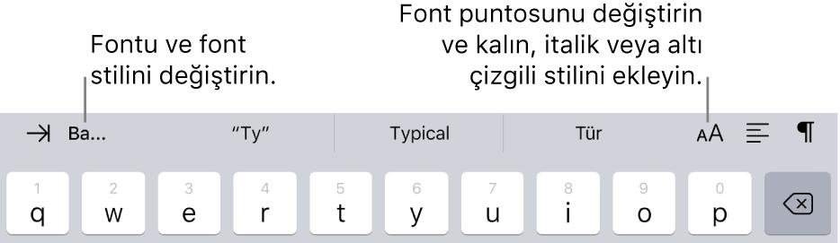 Soldan itibaren girinti, font, üç tahmini metin alanı, font puntosu, hizalama ve ekleme ile başlayan, klavyenin üst kısmındaki metin biçimleme düğmeleri.