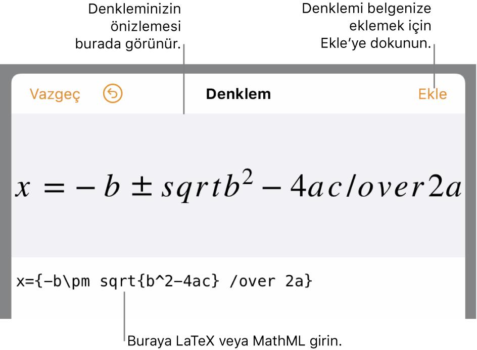 LaTeX komutları kullanılarak yazılmış ikinci dereceden bir formülü ve onun üstünde formülün önizlemesini gösteren denklem düzenleme sorgu kutusu.