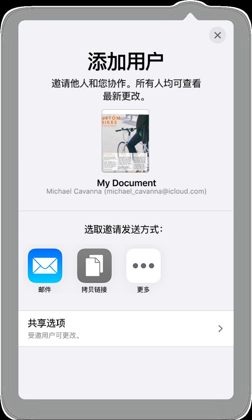 """""""添加用户""""屏幕,显示要共享文稿的图像。其下方是邀请发送方式的按钮,包括""""邮件""""和""""拷贝链接""""等。底部是""""共享选项""""按钮。"""