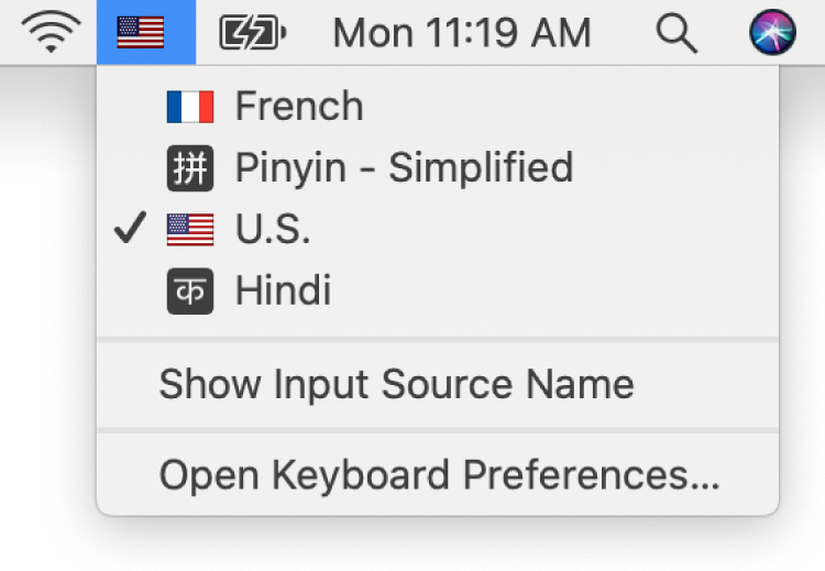 The Input menu on the upper-right side of the menu bar is open, and shows a number of languages available.