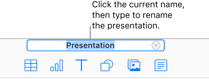 The presentation name, Presentation, selected at the top of an open presentation.
