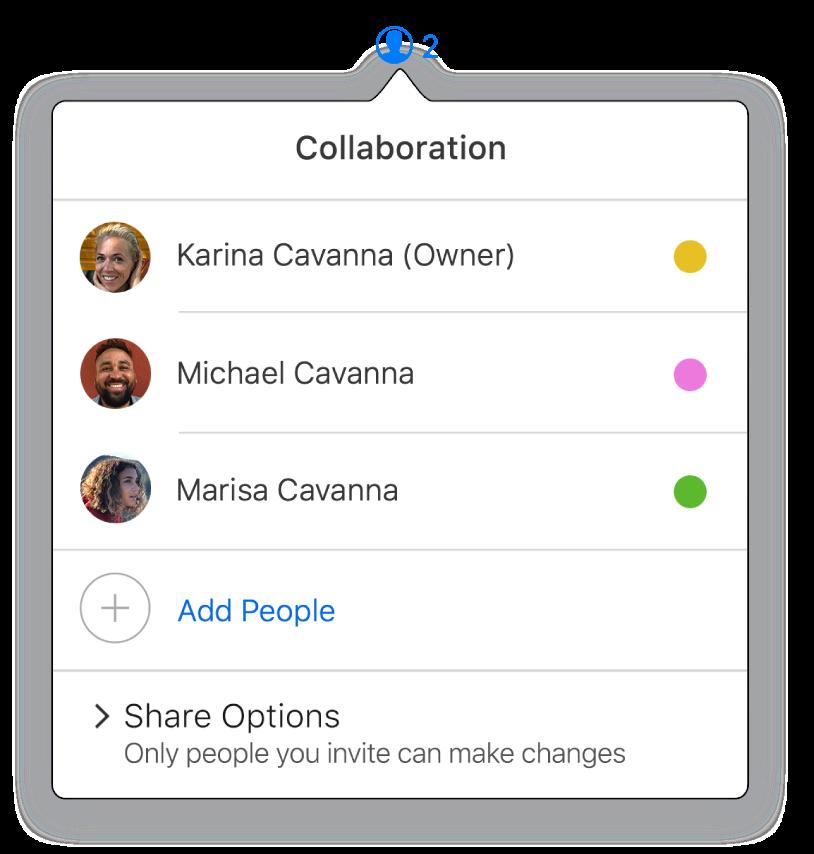 El menú Colaboración muestra los nombres de las personas que colaboran en la presentación. Las opciones para compartir aparecen debajo de los nombres.