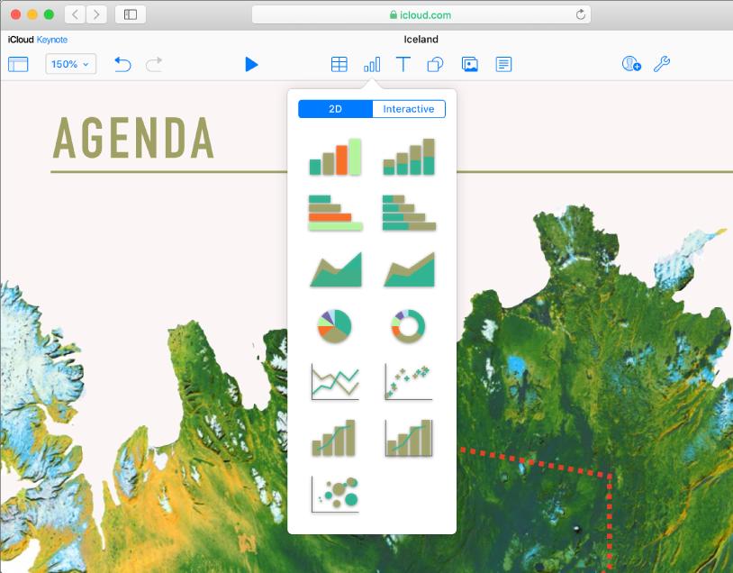 Los botones de tabla, gráfica, texto, figura e imagen en la barra de herramientas. El menú emergente Gráficos está abierto, con botones 2D e Interactivos en la parte superior. Se selecciona el botón 2D y se muestra una variedad de miniaturas de gráficos 2D para elegir.