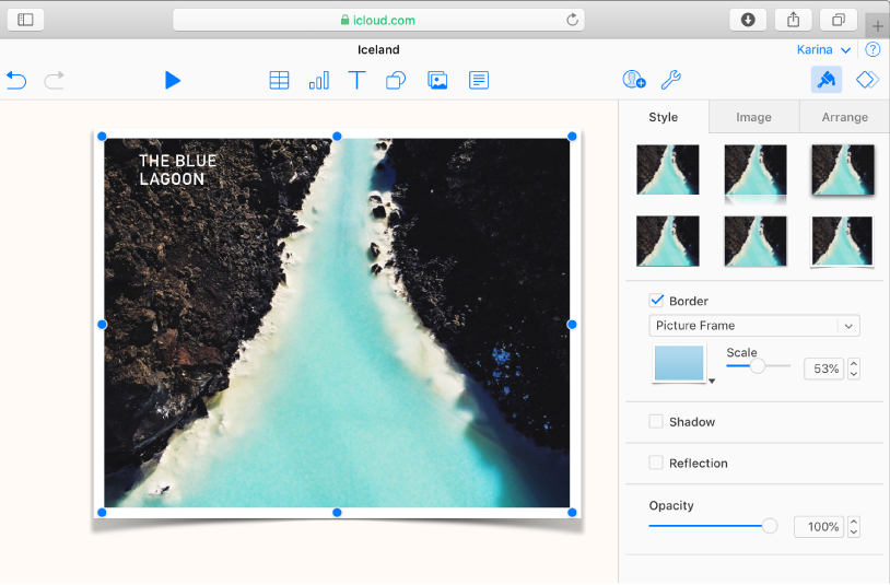 La imagen seleccionada en la diapositiva tiene un borde de marco de imagen, y el panel Estilo de la barra lateral Formato está abierto con Marco de imagen seleccionado en el menú de borde.