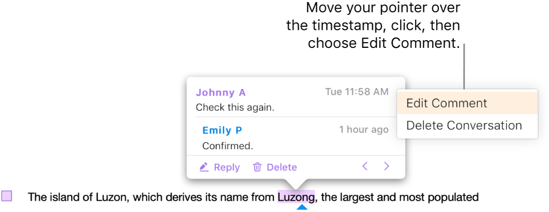 A comment is open, the pointer is over the timestamp at the top, and the pop-up menu shows two options, Edit Comment and Delete Conversation.