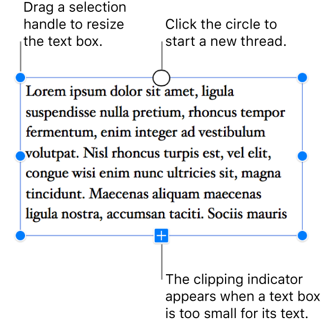 A text box with blue selection handles around it to show it's selected, a clipping indicator at the bottom that indicates there's overflow text, and a circle at the top that you can click to start a new thread.