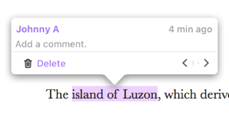 Some text is highlighted in a document; a popover shows the name of the person who added the highlight and the time it was added.