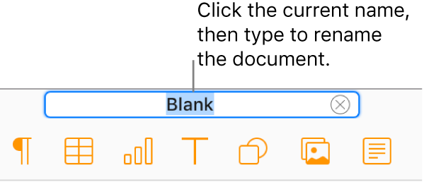 The document name, Blank, selected at the top of the document in the editor.