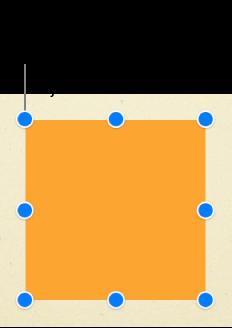 Et firkantet objekt med markeringshåndtaker synlige i hvert hjørne av markeringsboksen og på midtpunktet på hver side.