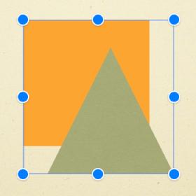 To objekter markert som en gruppe. Et blått omriss angir kanten på gruppen. Blå markeringshåndtak vises i hvert hjørne og midt på hver side.