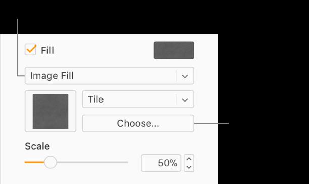 Fyll-ruten er valgt i sidepanelet, og Bildefyll er valgt i lokalmenyen under avkrysningsruten. Kontroller for valg av bilde, hvordan det fyller objektet, og bildeskaleringen vises under lokalmenyen. En forhåndsvisning av bildet vises i en firkant under lokalmenyen Bildefyll etter at et bilde er valgt.