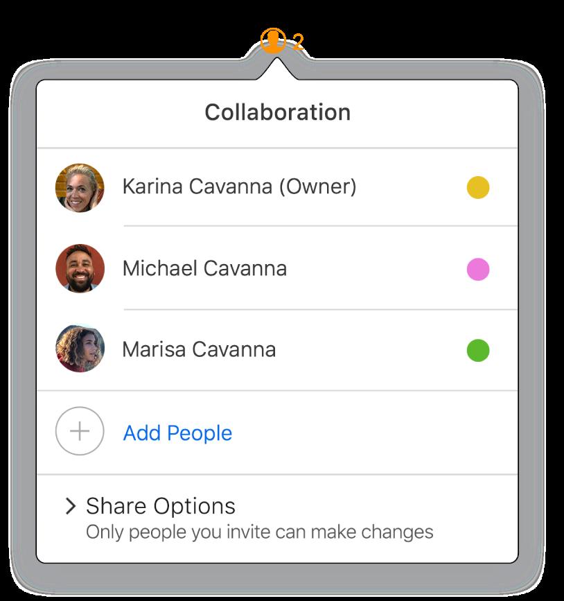 Samarbeid-menyen viser navnene til personene som samarbeider på dokumentet. Delingsalternativer vises under navnene.