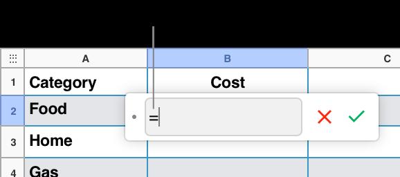 Formelredigeringen med = og ingen formel oppgitt.