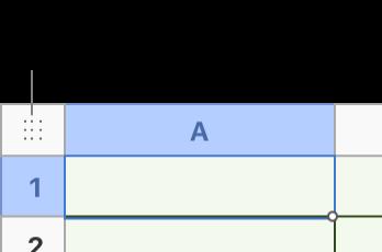 Firkant øverst til venstre i en tabell.