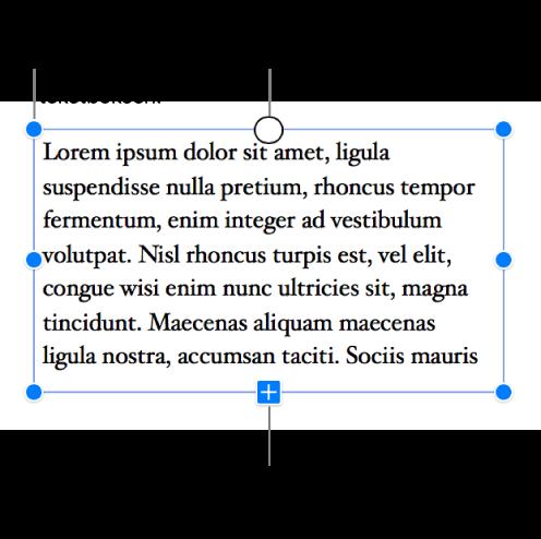 En tekstboks med blå markeringshåndtak rundt seg som viser at den er markert, en klippeindikator nederst som viser at det er overflødig tekst, og en sirkel øverst som du kan klikke på for å starte en ny tråd.