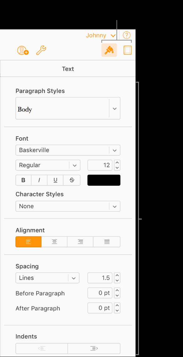 Format-knappen er valgt på verktøylinjen, og font, justering og andre kontroller for tekstformatering vises i sidepanelet til høyre for dokumentet.