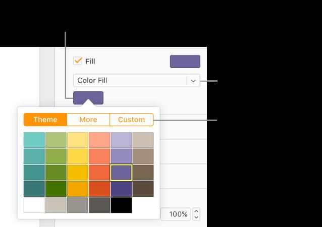 Fargefyll er valgt i Fyll-lokalmenyen, og fargefeltet under lokalmenyen viser et fargevindu, med Tema-, Mer- og Tilpasset fargefyll-knapper øverst – Tema-knappen er valgt som standard.