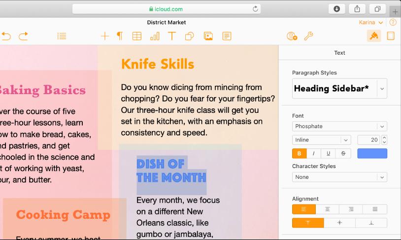 Et dokument med valgt tekst. Alternativer for å endre den valgte tekstens font, farge, størrelse og mer vises i Tekst-panelet i Format-sidepanelet på høyre side.